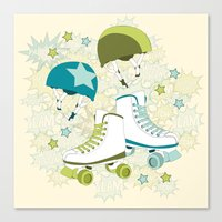 roller derby Canvas Prints featuring Roller Derby Rumble by Wild Notions