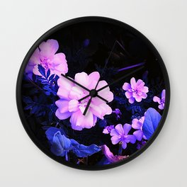 Little Yellow Flowers In Pink Wall Clock