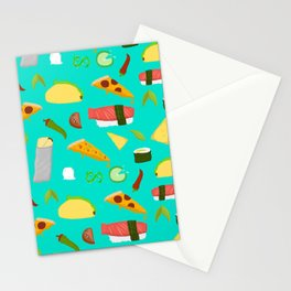 Feed Me- food pattern Stationery Cards