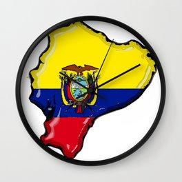 Ecuador Map with Ecuadorian Flag Wall Clock