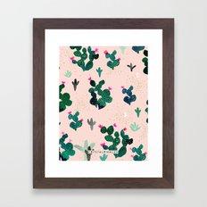 Cactus Desert Pink Dusk Moon Framed Art Print