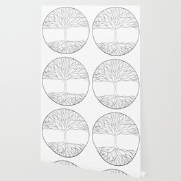 black and white minimalist tree of life line drawing Wallpaper