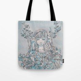 Reindeer Girl-White Christmas Tote Bag