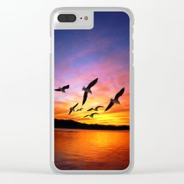 Seagull Sunset Clear iPhone Case
