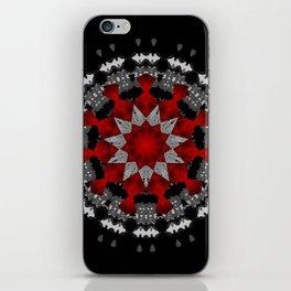 Bright Red Silver Star Flower Mandala iPhone Skin