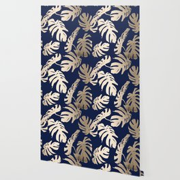 Simply Palm Leaves in White Gold Sands on Nautical Navy Wallpaper