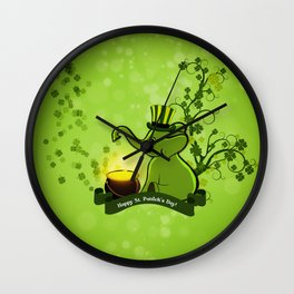 Happy st. patrick's day, with cute elephant Wall Clock