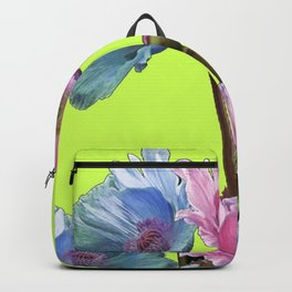 AWESOME PINK & BLUE POPPY GREEN  GARDEN FLOWERS Backpack