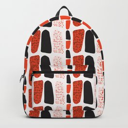 Terracotta and Black Abstract Drawn Symbols Style Backpack