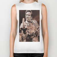 johnny cash Biker Tanks featuring Johnny Cash by Ray Stephenson