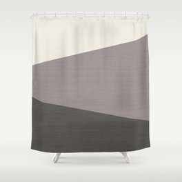 Tricolor Split Diagonally Geometric Grey Shower Curtain