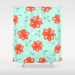 Cheerful Red Flowers Pattern Shower Curtain