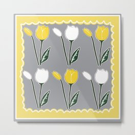 Tulips Pattern in Yellow, White, and Grey Metal Print