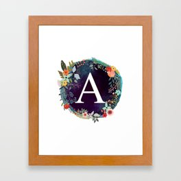 Personalized Monogram Initial Letter A Floral Wreath Artwork Framed Art Print