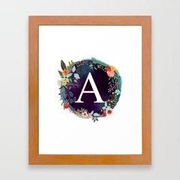 Personalized Monogram Initial Letter A Floral Wreath Artwork Framed Art Print