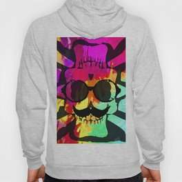 old vintage funny skull art portrait with painting abstract background in red purple yellow green Hoody