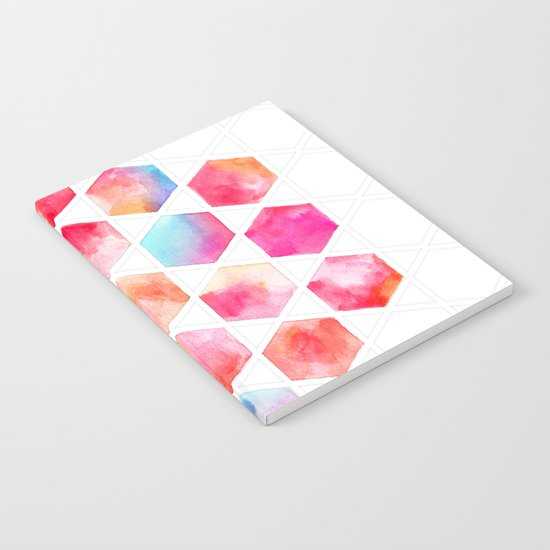 Radiant Hexagons - geometric watercolor painting Notebook