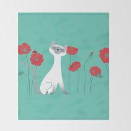 Siamese & Poppies Throw Blanket