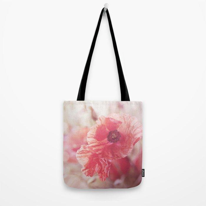 Romantic Poppy flower soft pastel colors Tote Bag