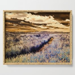 Infrared Landscape // Agate Fossil Beds, Nebraska // Purple and Gold Photo Serving Tray