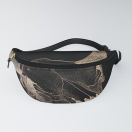 Ox Skull in Black and Brown Fanny Pack