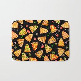 Watercolor Pizza Pattern Fast Food On Black Bath Mat