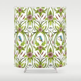 Common Kingfisher, Water Lilies, Dragonflies & Cattails Pattern Shower Curtain