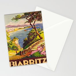 retro iconic Biarritz poster Stationery Cards