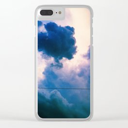 Blue Fluff Party Clear iPhone Case
