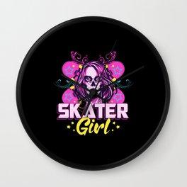 Skater Girl Sk8 Skateboard Girls Skating Gift Idea Wall Clock