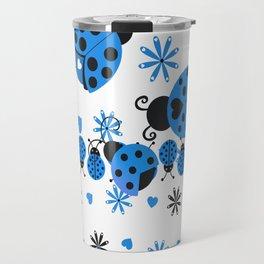 Blue Ladybugs Hearts and Flowers Travel Mug
