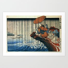 Ukiyo-e, Utagawa Kuniyoshi, Priest Nichiren praying under the storm Art Print