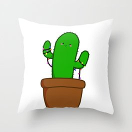Christmas Cactus Illustration in a Pot with Christmas String Lights Throw Pillow