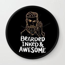 Bearded Inked & Awesome   Beard Tattoo Wall Clock