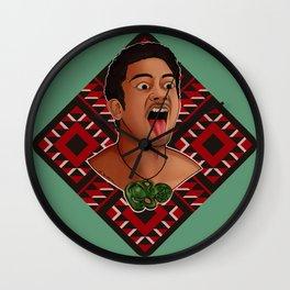 New Zealand Maori Haka Dancer Wall Clock