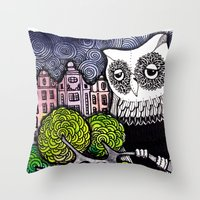 lonely Throw Pillows featuring lonely by Burcak Kafadar