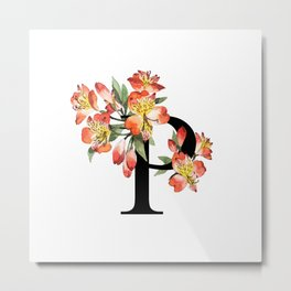 Letter 'P' Peruvian Lily Flower Monogram Typography Metal Print