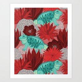 Iguana (red) Art Print