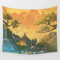 meditation Wall Tapestries featuring Meditation  by Michael Jared DiMotta Illustrations