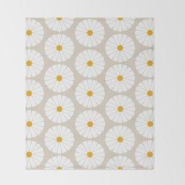 Minimal Botanical Pattern - Daisies Throw Blanket