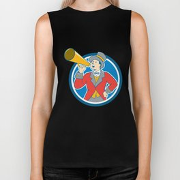 Circus Ringmaster Bullhorn Circle Cartoon Biker Tank