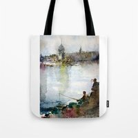 fishing Tote Bags featuring Fishing by Baris erdem