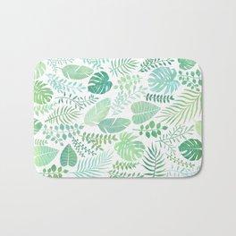 Green tropical leaves pattern Bath Mat