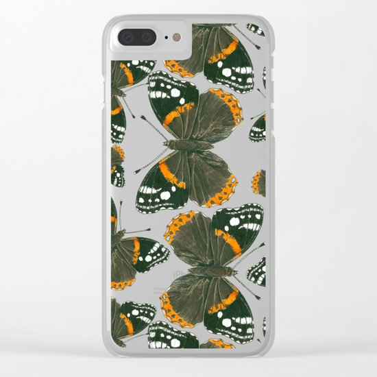 Red admiral butterfly  pattern Clear iPhone Case