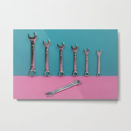 Seven wrenches on a colored background Metal Print
