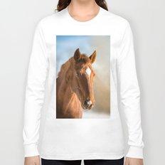 Brown Horse Winter Sky Long Sleeve T-shirt