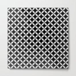 Small Black and White Interlocking Geometric Arcs Metal Print