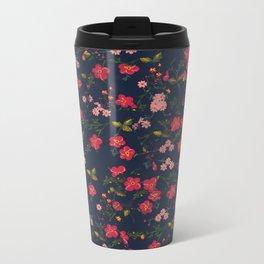 Pink Floral Metal Travel Mug