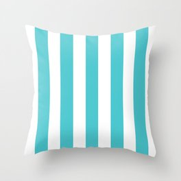 Sea Serpent turquoise - solid color - white vertical lines pattern Throw Pillow