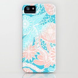 Artsy Summer Coral Aqua Hand Drawn Floral Pattern iPhone Case